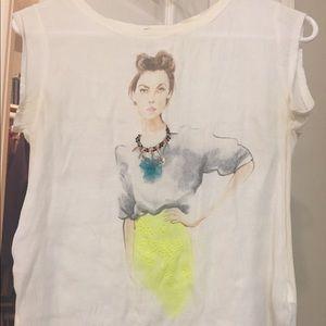 Zara artwork w&b collection blouse